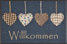 FUßMATTE 50/75 cm Herz Beige, Blau, Braun, Weiß - Blau/Beige, Basics, Kunststoff/Textil (50/75cm) - Esposa