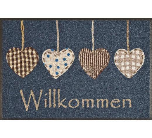 FUßMATTE 50/75 cm Herz Blau, Braun, Weiß, Beige  - Blau/Beige, Basics, Kunststoff/Textil (50/75cm) - Esposa