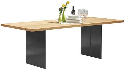 ESSTISCH Asteiche massiv rechteckig Eichefarben, Silberfarben - Eichefarben/Silberfarben, Design, Holz/Metall (220/100/77cm) - Musterring