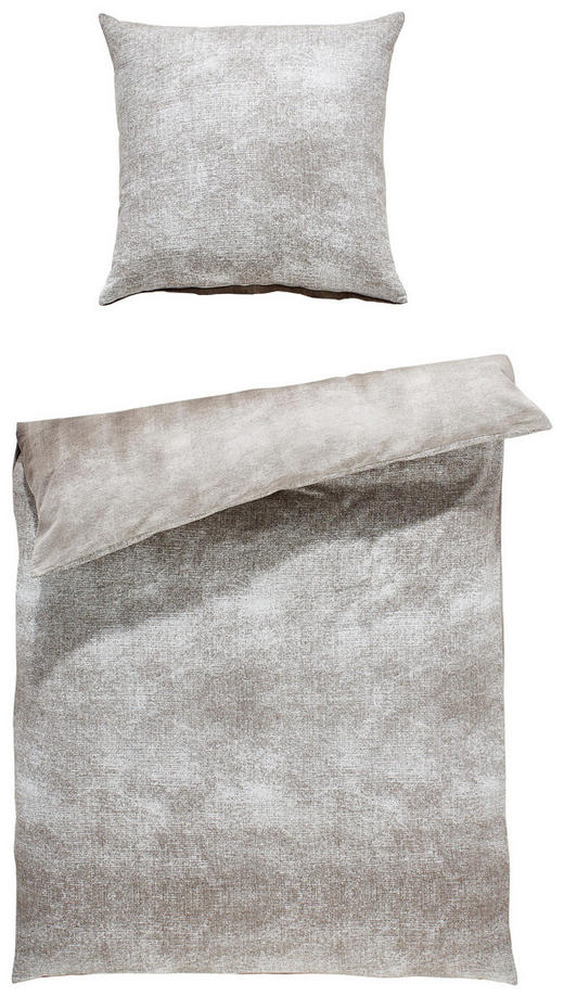 BETTWÄSCHE Flanell Anthrazit, Taupe 135/200 cm - Taupe/Anthrazit, Design, Textil (135/200cm) - Novel