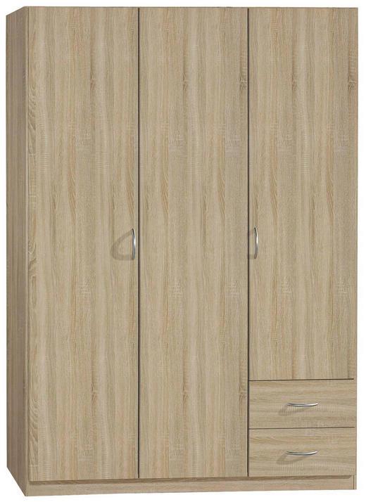 KLEIDERSCHRANK 3-türig Sonoma Eiche - Silberfarben/Sonoma Eiche, Design, Holzwerkstoff/Kunststoff (135/197/54cm) - Carryhome