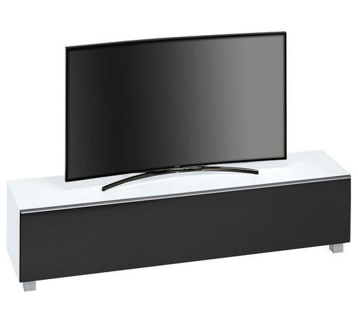 TV-ELEMENT Schwarz, Weiß  - Schwarz/Alufarben, Basics, Glas/Kunststoff (180/43,3/42cm)
