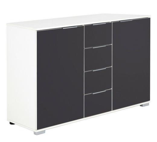 KOMMODE 130/83/41 cm  - Alufarben/Weiß, Design, Glas/Holzwerkstoff (130/83/41cm) - Carryhome
