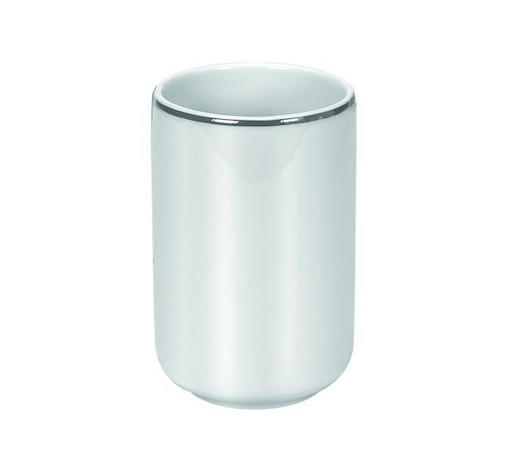 LONČEK ZA ŠČETKE NOBLESSE - bela/srebrna, Konvencionalno, keramika (7,4/11,4cm) - Kleine Wolke