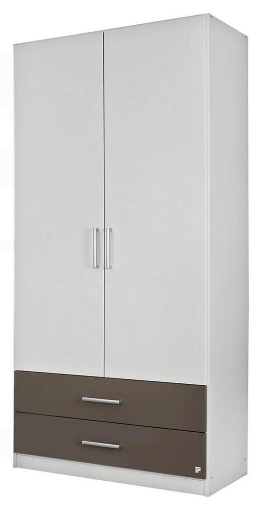 DREHTÜRENSCHRANK Grau, Weiß - Silberfarben/Weiß, Design, Holzwerkstoff/Kunststoff (91/197/54cm) - Carryhome