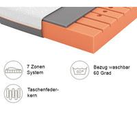 GELSCHAUMMATRATZE Primus 230 90/200 cm  - Dunkelgrau/Weiß, Basics, Textil (90/200cm) - Schlaraffia