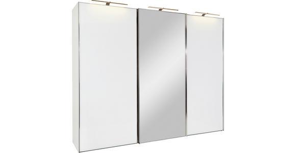 Schwebetürenschrank mit Spiegel 336cm Sonate Rom, Weiß Dekor - Weiß, MODERN, Holz/Holzwerkstoff (336/240/68cm) - Luca Bessoni