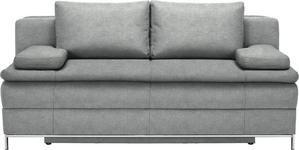 BOXSPRINGSOFA in Textil Hellgrau  - Chromfarben/Hellgrau, Design, Textil/Metall (200/93/107cm) - Novel