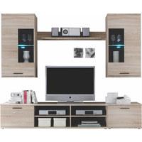 OBÝVACÍ STĚNA - barvy stříbra/barvy dubu, Design, dřevěný materiál/umělá hmota (230/180/40cm) - CARRYHOME