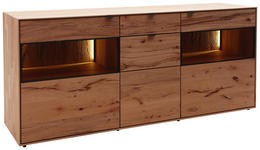 SIDEBOARD Kernbuche massiv gebürstet, gewachst, lackiert, matt Buchefarben - Anthrazit/Buchefarben, Design, Glas/Holz (185/81/49cm) - Valnatura