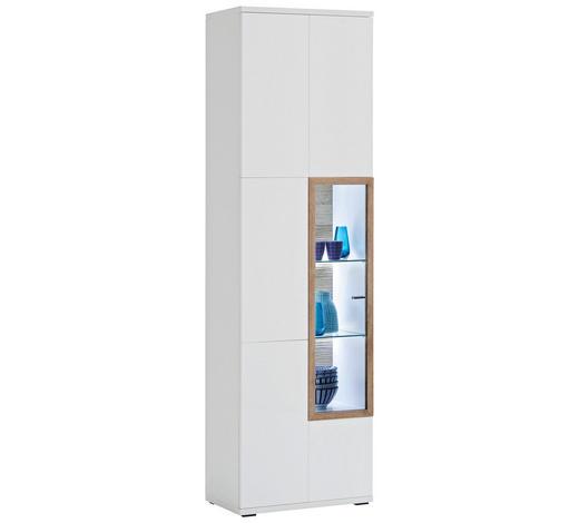 VITRINE  in Weiß, Eichefarben - Eichefarben/Weiß, Design, Glas/Holzwerkstoff (60/207/37cm) - Novel