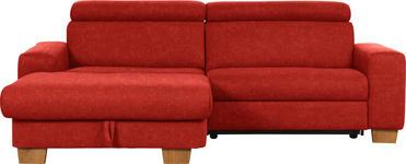 WOHNLANDSCHAFT in Rot Textil - Eichefarben/Rot, Design, Textil (178/262cm) - Hom`in