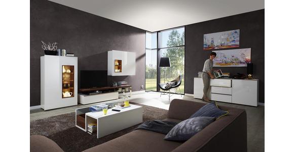 WOHNWAND Nussbaumfarben, Weiß - Nussbaumfarben/Weiß, Design, Holz/Holzwerkstoff (348/177/57cm) - Dieter Knoll