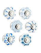 POHIŠTVENI GUMB - modra/bela, Konvencionalno, kovina/keramika (4,5/6,5/4,5cm)