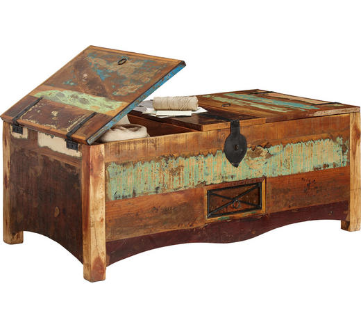 TRUHE Holz, Metall Altholz massiv  - Multicolor, LIFESTYLE, Holz/Metall (110/45/60cm) - Landscape