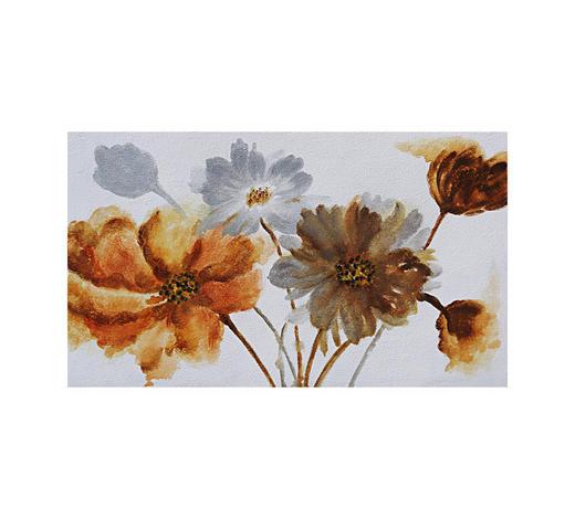 Blumen ÖLGEMÄLDE  - Braun/Orange, LIFESTYLE, Holz/Textil (120/70cm) - Monee
