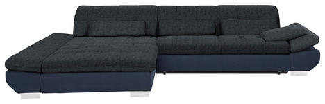 WOHNLANDSCHAFT in Textil Blau, Schwarz  - Chromfarben/Blau, Design, Kunststoff/Textil (204/341cm) - Xora