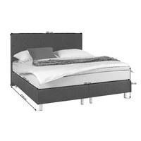 POSTEL BOXSPRING, 180 cm  x 200 cm, textil, antracitová, světle šedá - světle šedá/antracitová, Design, kov/dřevo (180/200cm) - Carryhome