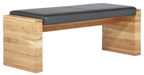 SITZBANK in Holz, Textil Eichefarben, Schwarz - Eichefarben/Schwarz, KONVENTIONELL, Holz/Textil (130cm) - Cantus