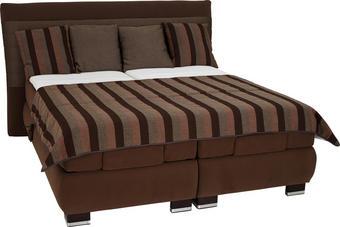 POSTELJA BOXSPRING 180 cm   x 200 cm  , tekstil rjava - svetlo rjava/krom, Konvencionalno, tekstil (180/200cm) - Bentley