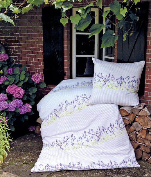 BETTWÄSCHE Makosatin Violett, Weiß 135/200 cm - Violett/Weiß, Textil (135/200cm)