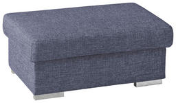 HOCKER in Textil Blau - Chromfarben/Blau, KONVENTIONELL, Textil/Metall (100/45/60cm) - Novel