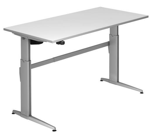 SCHREIBTISCH - Silberfarben/Weiß, KONVENTIONELL, Holzwerkstoff/Metall (160/72-119/80cm)
