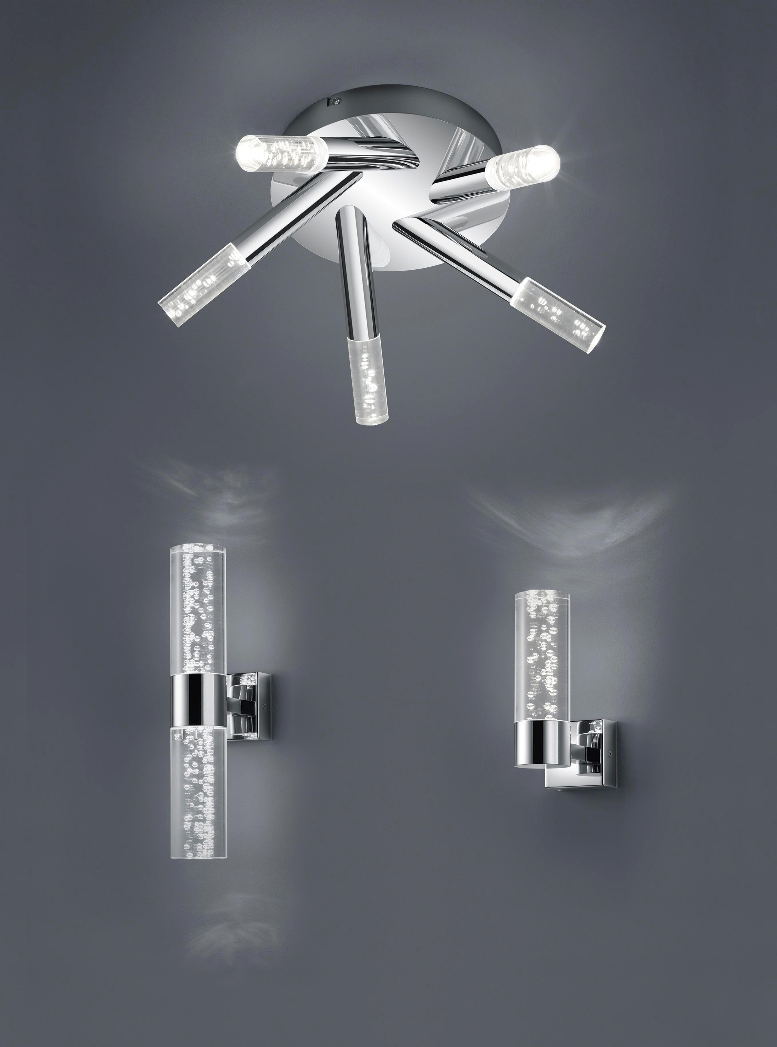 BADEZIMMER-WANDLEUCHTE - Chromfarben/Klar, Design, Kunststoff/Metall (30,0/7,0/12,0cm)
