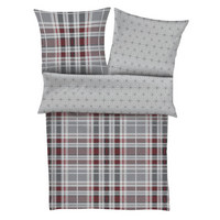 BETTWÄSCHE Flanell Grau, Rot 135/200 cm  - Rot/Grau, KONVENTIONELL, Textil (135/200cm) - S. Oliver