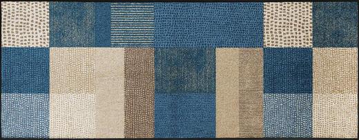 FUßMATTE 75/190 cm Graphik Beige, Blau - Blau/Beige, Kunststoff/Textil (75/190cm) - Esposa
