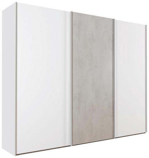 SCHWEBETÜRENSCHRANK 3-türig Grau, Weiß - Chromfarben/Weiß, Design, Holzwerkstoff/Metall (300/222,5/67cm) - Welnova
