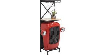 BAR, přírodní barvy, červená, černá - šedá/černá, Trend, kov/dřevo (52/153/36cm) - Ambia Home