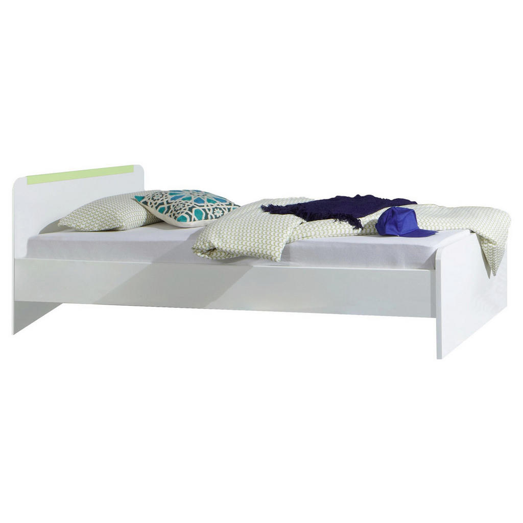 Bett 90 Cm X 200 Cm In Holz, Holzwerkstoff Grün, Weiß
