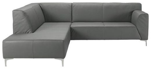 WOHNLANDSCHAFT Echtleder - Chromfarben/Grau, Design, Leder/Metall (224/244cm) - Xora
