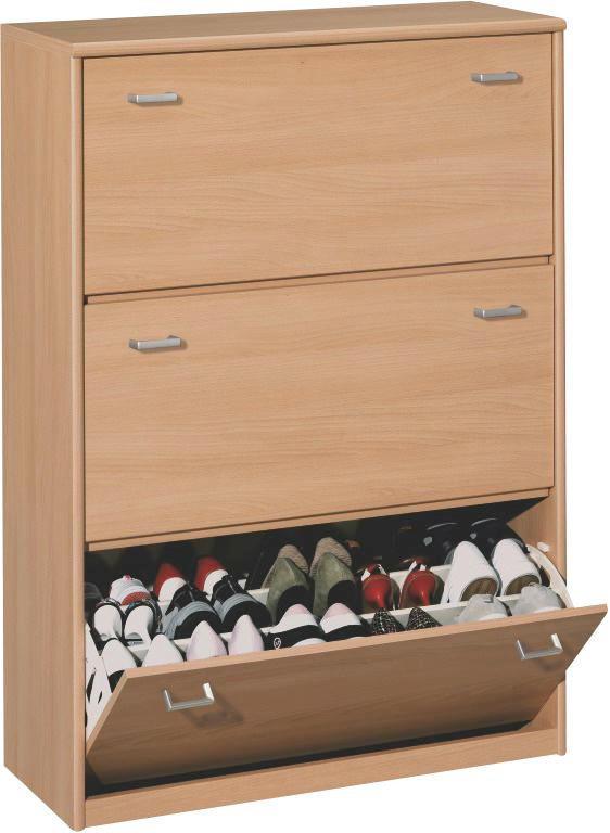 SCHUHKIPPER - Silberfarben/Buchefarben, KONVENTIONELL, Holzwerkstoff/Kunststoff (87/123/36cm) - CS SCHMAL