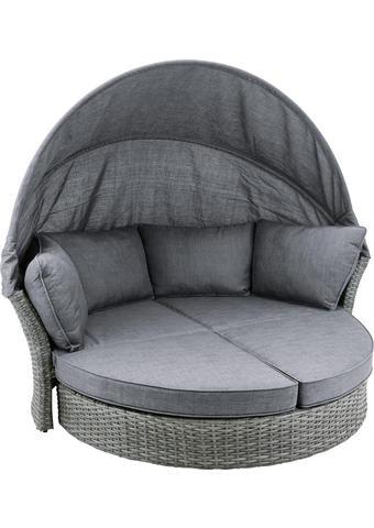 VRTNI LEŽALNIK aluminij pletivo iz umetne mase siva - siva, Trendi, kovina/umetna masa (200cm) - Ambia Garden