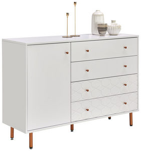 SIDEBOARD - mässingfärg/vit, Design, metall/träbaserade material (133/92/42cm) - Novel