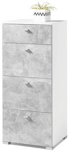 KOMODA - bijela/siva, Design, drvni materijal/plastika (50/116/42cm) - Ti`me