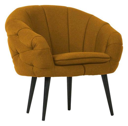 KŘESLO - černá/tmavě žlutá, Trend, dřevo/textil (80/77/68cm) - Carryhome