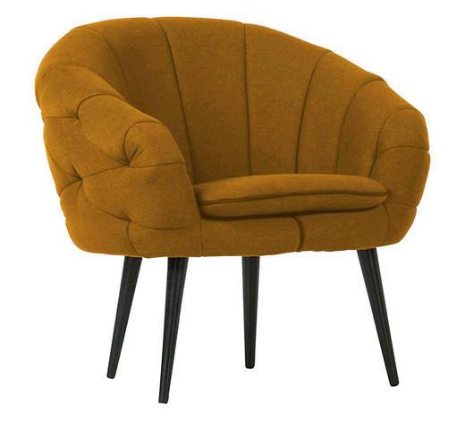 KŘESLO - černá/tmavě žlutá, Trend, dřevo/textilie (80/77/68cm) - Carryhome