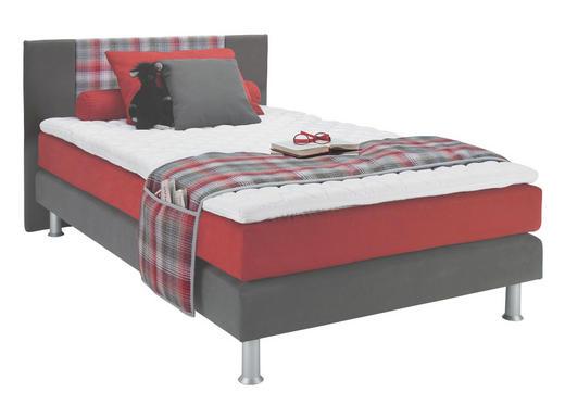BOXSPRINGBETT  in Grau, Rot - Rot/Alufarben, KONVENTIONELL, Kunststoff/Textil (120/200cm) - Bentley