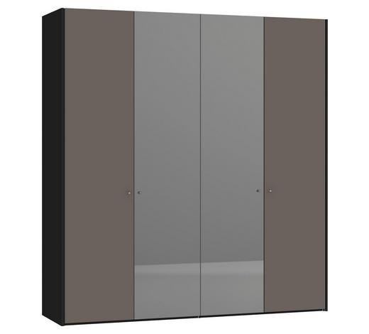 DREHTÜRENSCHRANK 4-türig Grau, Schwarz  - Silberfarben/Schwarz, Design, Glas/Holzwerkstoff (205,1/220/58,5cm) - Jutzler