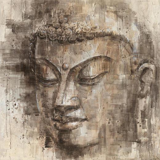Buddha ÖLGEMÄLDE - Dunkelgrau/Beige, Basics, Holz/Kunststoff (85/85cm) - Monee
