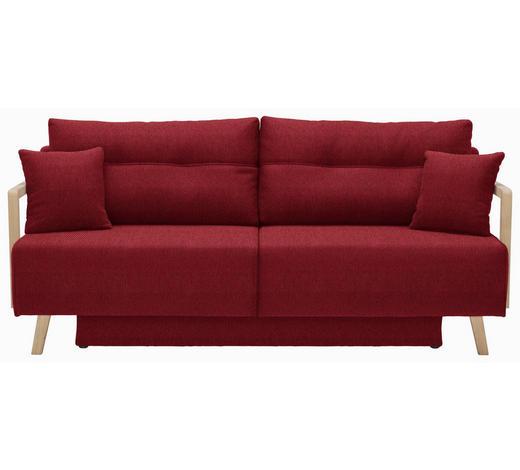 SCHLAFSOFA in Textil Rot - Rot/Naturfarben, KONVENTIONELL, Holz/Textil (200/92/95cm) - Venda