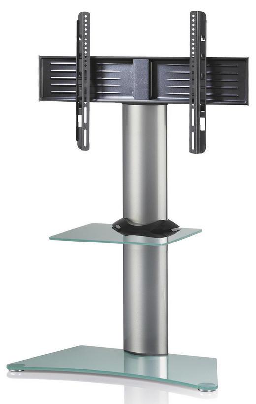 TV-RACK Glas, Metall Klar, Silberfarben - Klar/Silberfarben, KONVENTIONELL, Glas/Metall (80/111/40cm)