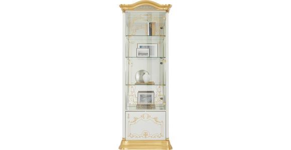 VITRINE in Goldfarben, Weiß - Goldfarben/Weiß, LIFESTYLE, Glas/Holzwerkstoff (76/209/53cm) - Cantus