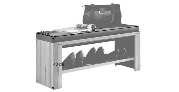 GARDEROBENBANK 90/40/38 cm  - Buchefarben/Grau, KONVENTIONELL, Holz/Holzwerkstoff (90/40/38cm) - Venda