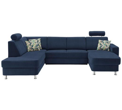 WOHNLANDSCHAFT in Textil Blau  - Chromfarben/Blau, Design, Kunststoff/Textil (198/301/165cm) - Xora
