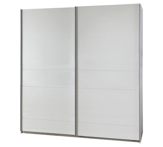 SCHWEBETÜRENSCHRANK in Weiß - Silberfarben/Weiß, Design, Holzwerkstoff/Metall (180/198/64cm) - Carryhome