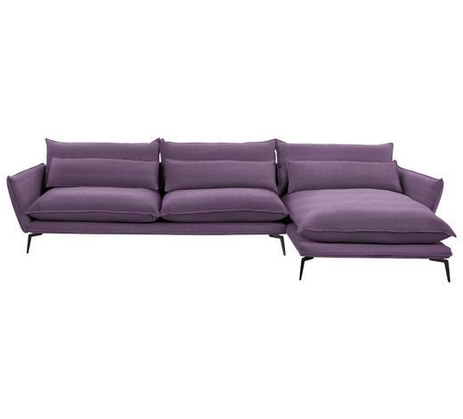 WOHNLANDSCHAFT in Textil Violett  - Violett/Schwarz, Design, Textil/Metall (338/165cm) - Hom`in